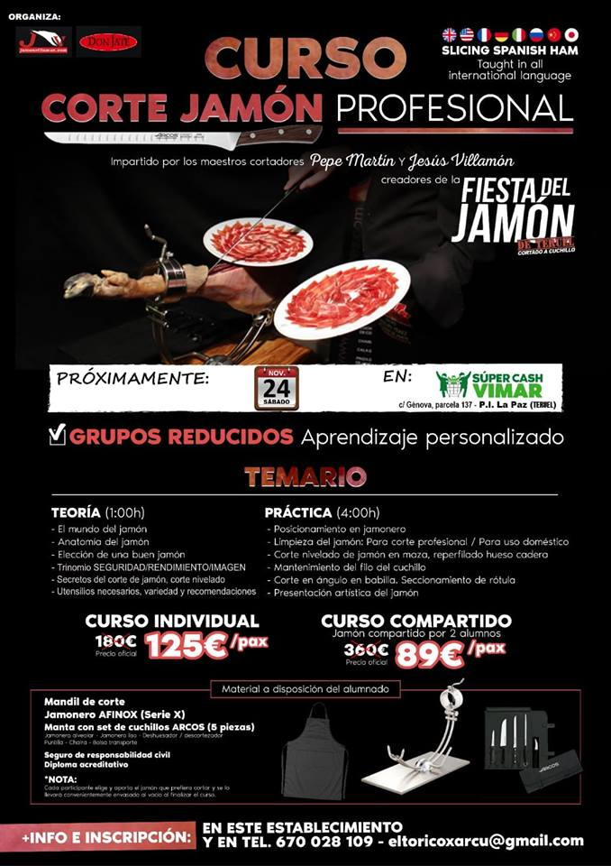 Curso corte jamón villamón y fiesta del Jamón de Teruel